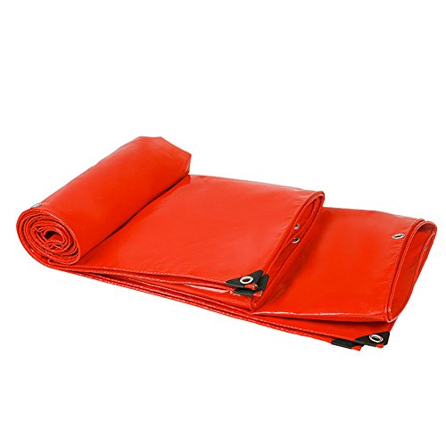 QIANGDA Planen Abdeckhaube Schutzplane Regenfest Wasserdicht PVC Kältebeständig LKW-Abdeckung, -500 G/M², Rot, Dicke 0,5 Mm, Mehrfachgröße Optional, Größe Anpassbar...