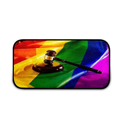 Felpudo de madera Judge Mallet LGBT, fácil de limpiar, antideslizante, para patio, puerta, entrada, garaje, cocina, baño, lavandería, interior y exterior