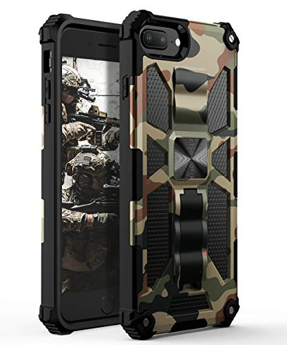 YVPro iPhone 8 Plus Case iPhone 7 Plus Case iPhone 6 Plus Case iPhone 6s Plus Case Man Sturdy Kickstand Shockproof Protective Camo Cover Camouflage