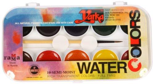 Jack Richeson 38010 Yarka Student Semi Moist Watercolor, Set of 10