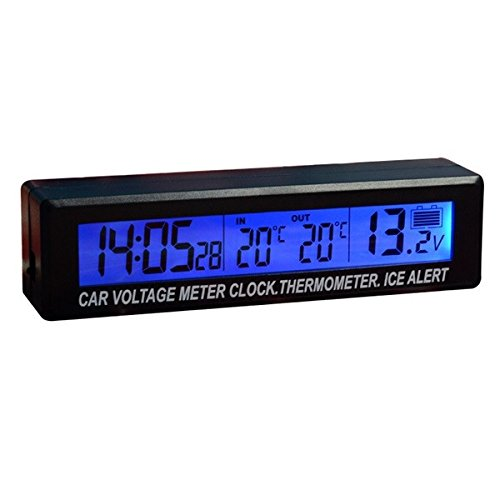 Viviance Funktion Auto Uhr Spannung Meter Thermometer Blau Orange Dual Color Display