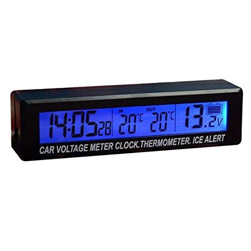 Viviance Ec88 Horloge De Voiture Et Compteur De Tension Et Thermomètre De Fonction 3-en-1 Bleu-Orange