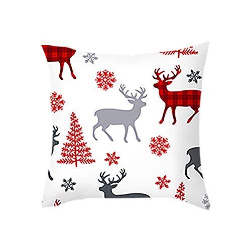 Zimmuy 1Pc Navidad Decoración Funda de Almohada 18x18 Pulgada Navidad Varios Dibujo Adorable Navidad Funda Cojines Pinturas Animadas(F)