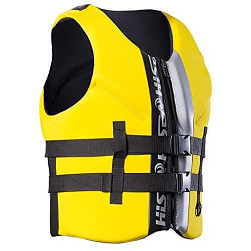 ZHENGRUI Chalecos Salvavidas Adultos,Dispositivo Flotación Personal Chaleco Deportes Al Aire Accesorios Deportes Acuáticos Vela Surf Pesca Kayak,Yellow-XS