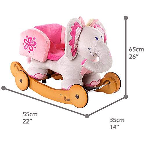 Labebe Baby Schaukelpferd Holz mit Räder, 2-in-1 Schaukelpferd Elefant&Schaukelpferd Rosa für Baby 1-3 Jahre Alt, Kleinkind Schaukel Baby/Schaukelpferd Pink/Spielzeug Schaukel/Schaukeltier Musik - 4