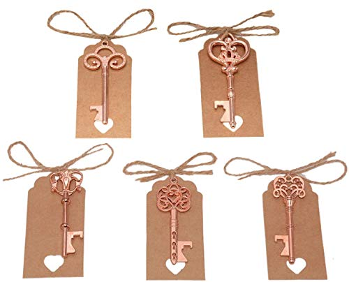 Yansanido Pack of 50 Skeleton Key Bottle Opener with Escort Tag Card and Twine for Wedding Favors for Guests Party Favors (mixed 5 styles Rose Gold)