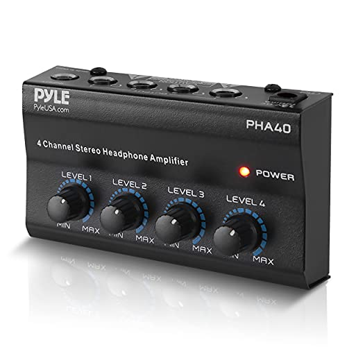 """4-Channel Portable Stereo Headphone Amplifier - Professional Multi Channel Mini Earphone Splitter Amp w/ 4 ¼"""" Balanced TRS Headphones Output Jack and 1/4"""" TRS Audio Input For Sound Mixer - Pyle PHA40 BLACK"""