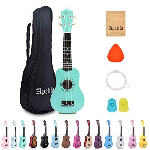 Apelila 21 inch Soprano Ukulele Acoustic Mini Guitar Musical Instrument with Bag, Pick, Strings, for Beginner, Kid, Starter, Amateur (Seafoam Green#22)