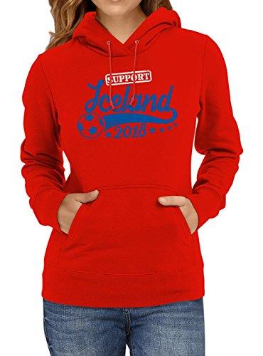 Shirt Happenz Island Weltmeisterschaft 2018#25 Premium Hoodie Fan Trikot Fußball Weltmeisterschaft Nationalmannschaft Frauen Kapuzenpullover, Farbe:Rot;Größe:XL