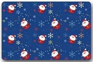 "Qrriy Merry Christmas Snowflakes and Santa Claus MatFloor Mat Door Mat Neoprene Rubber Non Slip Backing Machine Washable (23.6""x15.7"",L x W)&ドアマット,ヒップスタークールドアカーペット歓迎,靴スクレーパー屋内マットギフト"