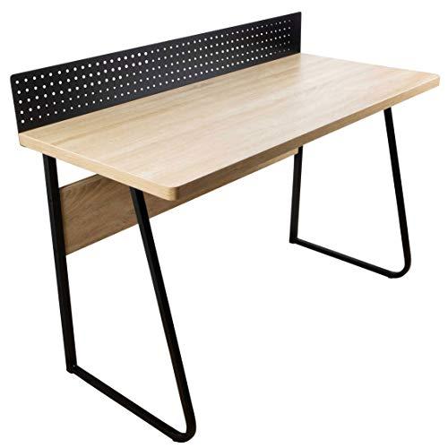 Stalwart Schreibtisch Industrial Stabiler PC Tisch für Home Office und Büro mit Notiztafel, große Arbeitsfläche in Eiche Holz Optik, Füße aus Metall Schwarz, modern und funktional - 120 x 55 cm
