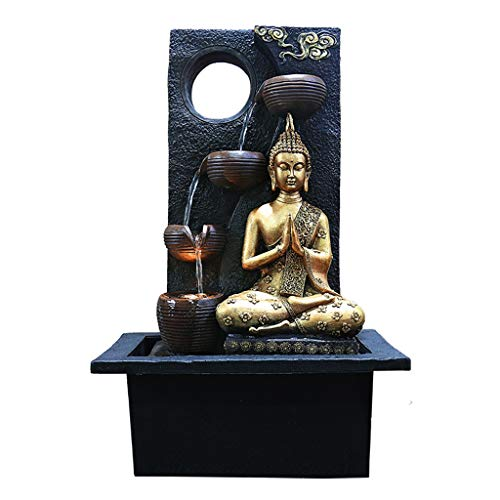 Tabletop Water Fountain/Tabletop Fountains Indoor Buddha Fountain Zen Tabletop Water Fountain 6-Storey Cascade Waterfall Fountain in a Minimalist Serene Design 22 Inches Tall Indoor Fountains