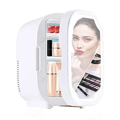 CYYMY Mini Refrigerador 8L con Espejo De Maquillaje LED, Mini Refrigerador Silencioso De 12V / 220V, Nevera Eléctrico Portátil De Frío/Calor para Automóvil, Viajes, Medicina,