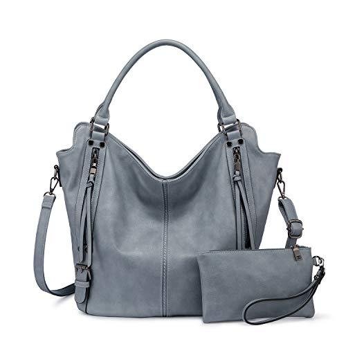 Realer Damen Handtaschen Groß Shopper Lederhandtasche Schultertasche Umhängetasche Geldbörse Hobo Damen Taschen Set für Büro Schule Einkauf Reise 2pcs Hellblau