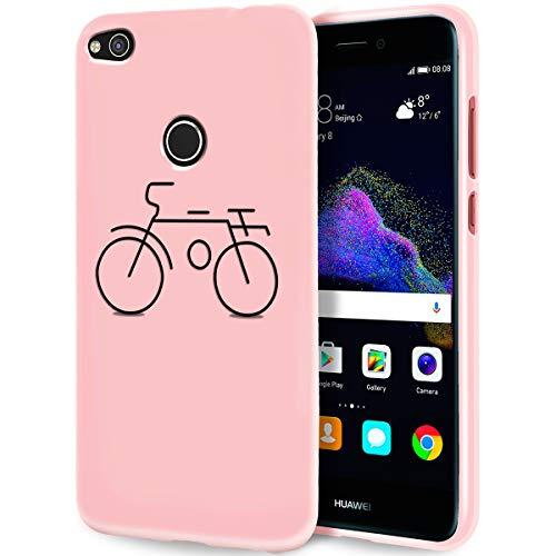 Yoedge Cover Huawei P8 Lite 2017/P9 Lite 2017, Sottile Antiurto Custodia Rosa Silicone TPU con Disegni Pattern Ultra Slim 360 Protective Bumper Case per Huawei P8 Lite 2017/P9 Lite 2017, Bicicletta
