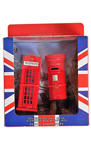 Spitzer-Set, Spritzgussmetall, im Design einer roten Telefonzelle und eines roten Briefkastens, London-Souvenir/-Sammlerstück