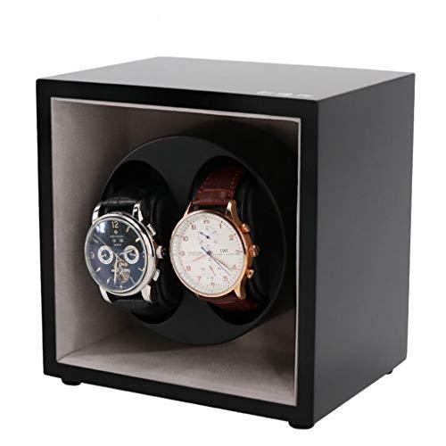 QLL Custodia Orologi Watches Winder Due Posti con Rotore Espositore Girevole Per Silenzioso Motore (Color : Black)
