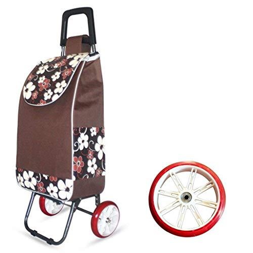 Pkfinrd Plegable Compras Coche Gran Capacidad Ligero con Ruedas Empuje Cart Bolsa con 2 Ruedas - Color Café