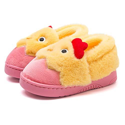 CNNWomen Kids Little Yellow Chicken Slippers Bequeme, rutschfeste Sohle Warme Hausschuhe, Hausschuhe aus Baumwollstrick,Rosa,19