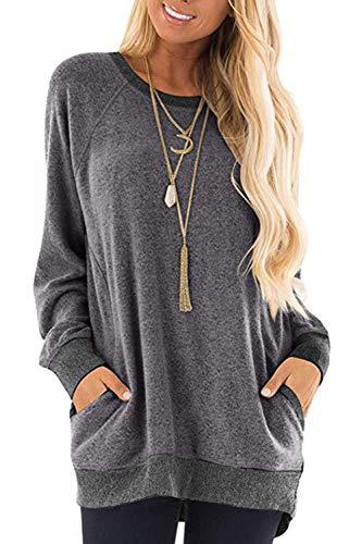 Damen Langarmshirt Casual Sweatshirt Farbblock T-Shirt Rundhals Blusen Top Pullover Oberteile mit Taschen (252-grau, Small)
