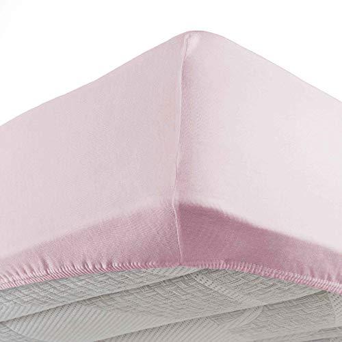Douceur D'Intérieur - 1641300, Lenzuolo Con Angoli Singolo , 90 X 190 Cm , Jersey Uni , Jersey Unito , Rosa