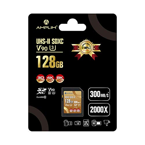 Amplim 128GB V90 UHS-II SD SDXC Card, 300MB/S 2000X Read/Write Lightning Speed Performance, Extreme Read, U3 Secure Digital Memory Storage for Professional Photographer and Videographer