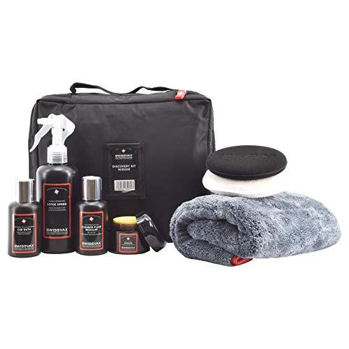 SWISSVAX Discovery Kit Mirage Autopflege Set mit Premium Wachs, Politur, Detailer, Autoshampoo, Poliertuch und Pads