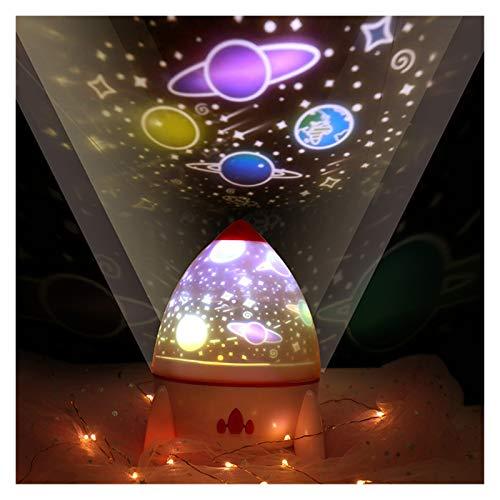 YYOMXXOM - Proyector de luz nocturna con constelación, lámpara de noche para dormitorio, luz de noche para niños, habitación de niños, altavoz Bluetooth, música (color emisor: cohete rosa USB)