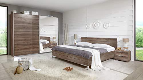 Wimex London Futonbett höhenverstellbar mit Nachtschrank 1 Paar, Schlammeiche Nachbildung, 210 x 293 x 81 cm