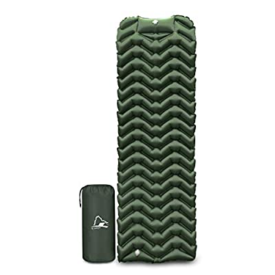 EJsoyo Camping Sleeping Pad, Ultralight 19.4 OZ,New Upgrade Camping Sleeping Pad with Built-in Inflator,Great for Backpacking (Green)