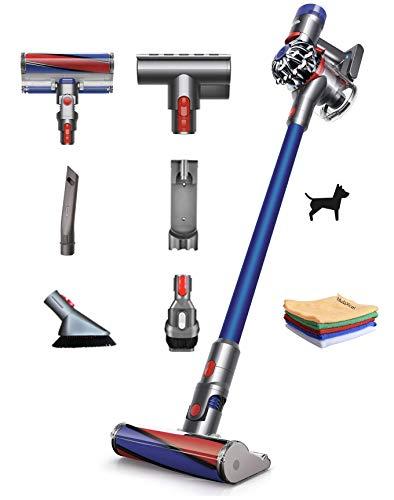 Premium Dyson V7 Allergy HEPA Cordless Stick Vacuum Cleaner: Lightweight, Powerful, Bagless Ergonomic, Telescopic Handle, Rechargeable Battery, Height Adjustable, White + Hubxcel One Microfiber Cloth