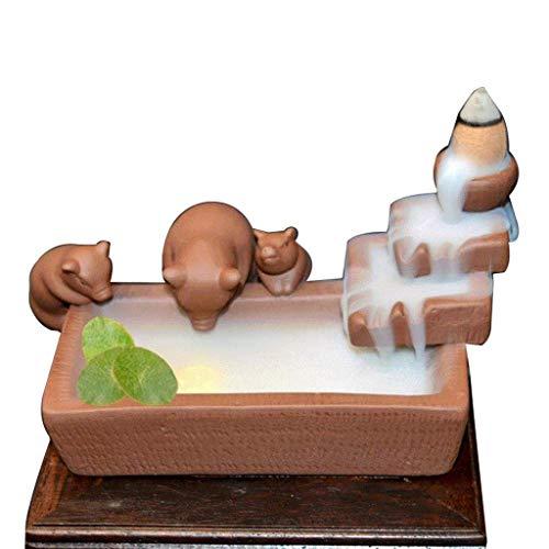 DAGONGREN Quemador de Incienso, Quemador Quemador Hecho a Mano Cascada del sostenedor del hogar aromaterapia Decoración Tres Cerdos Lindos de la hornilla de Incienso