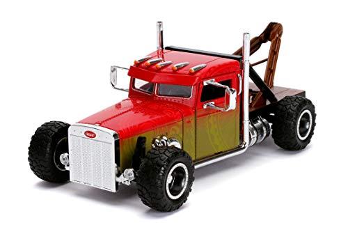 Jada Toys Fast & Furious Hobbs and Shaw Custom Peterbilt Truck, Auto, Tuning-Modell im Maßstab 1:24, zu öffnende Türen, Freilauf, rot/gelb