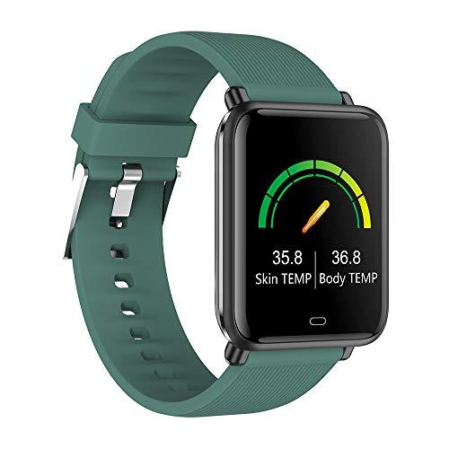RAPG Reloj inteligente, pulsera inteligente con detección de temperatura corporal, monitor de oxígeno en sangre, monitor de actividad de calorías, modo multideporte, adecuado para hombres y mujeres