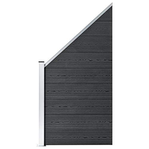 vidaXL Panel de Valla Cuadrado Jardín 2 Postes WPC Gris 180x180 cm Cerca Pared
