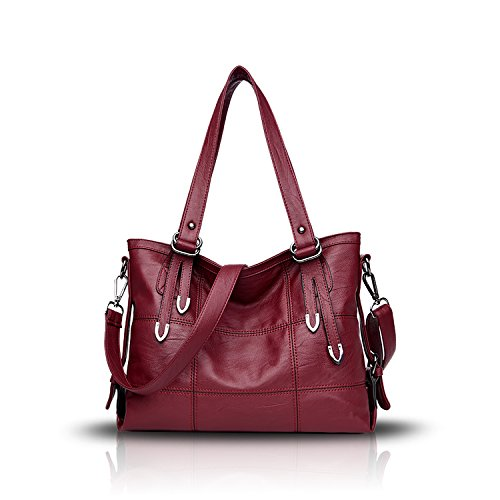 Tisdaini® Damenhandtaschen Mode Hohe Kapazität Geschäft Schultertaschen Freizeit weich Leder Shopper Umhängetaschen Weinrot