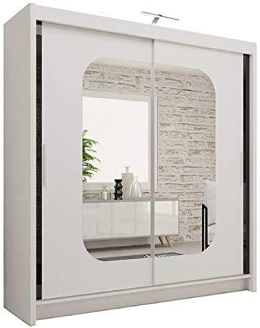 Armadio moderno con porta scorrevole a specchio per camera da letto con luce, bianco-108