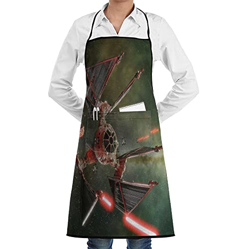 ASNIVI Delantal de cocina impermeable para hombres delantal de chef para mujeres restaurante de jardinería barbacoa cocinar hornear,Nave espacial Star Wars Satellite Cool Mechanical