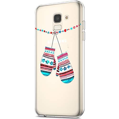 Kompatibel mit Galaxy J6 2018 Hülle Silikon Schutzhülle Transparent mit Christmas Weihnachten Schneeflocke Muster Handyhülle Durchsichtige Backcover TPU Case Tasche Etui Bumper, Handschuhe