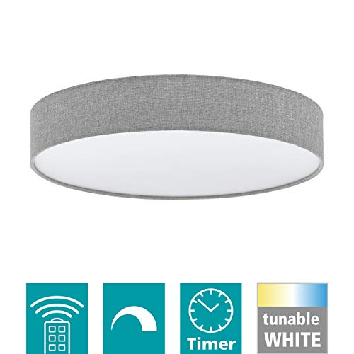 EGLO LED Deckenleuchte Romao, 1 flammige Deckenlampe aus Stahl, Kunststoff, Textil in weiß, grau, mit Fernbedienung, Farbtemperaturwechsel (warm, neutral, kalt), Nachtlicht, dimmbar, Ø 57 cm