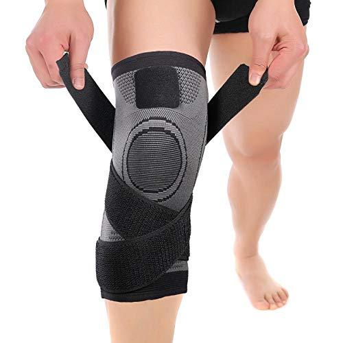 Rodillera y ligamento, Rodillera Hombres/Mujeres antideslizantes transpirables, Protección para correr, Deportes, Crossfit/Curación Artritis y lesiones, Gris, XL