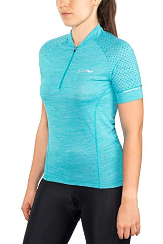 LÖFFLER W Bike Trikot Merino HZ Blau, Damen Merino T-Shirt, Größe 38 - Farbe Topaz Melange