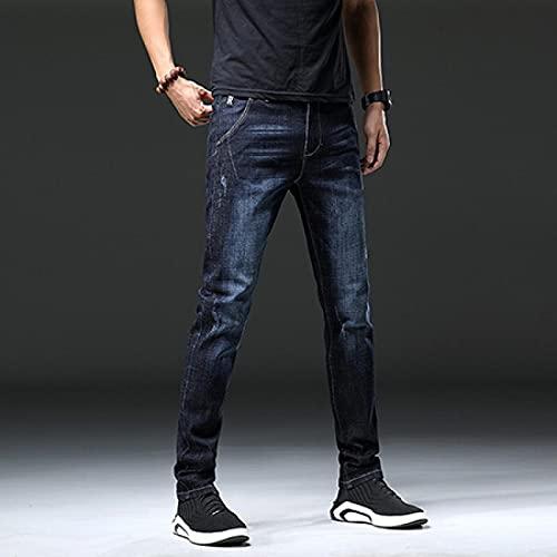Jeans Mens Jeans Size Pure Grey Color Denim Jeans Straight Pants Stretch Skinny Men Jeans 30 Tl1817Darkblue