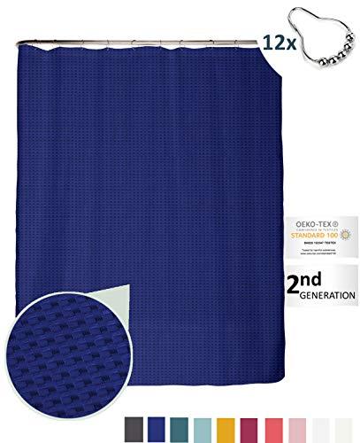 arteneur® - Königsblau - Premium Duschvorhang 180x200 mit 12 Edelstahl-Ringen – Anti-Schimmel Struktur-Stoff, Beschwerter Saum, Blickdicht, Wasserdicht, Waschbar und inkl. E-Book