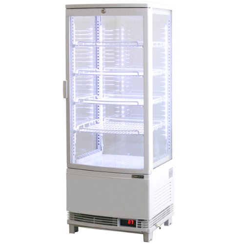レマコム 4面ガラス冷蔵ショーケース LED仕様 (98L) RCS-4G98SL