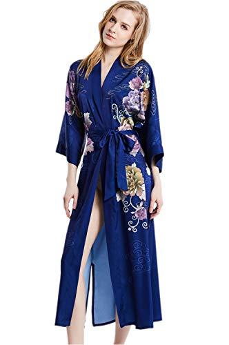 prettystern Damen Boden-lang 100% Seide Kimono Morgenmantel Robe Blau Floral Druck L15