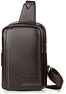 Mens Shoulder Bag Leather Sling Crossbody Messenger Bag Mens Bag Handbag Travel Bag Backpack