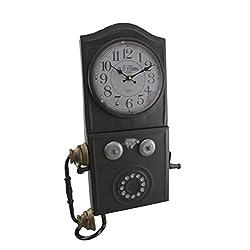 Vintage Style Tin Telephone Wall Clock Kitchen Retro Decorative Wall Clocks Antique