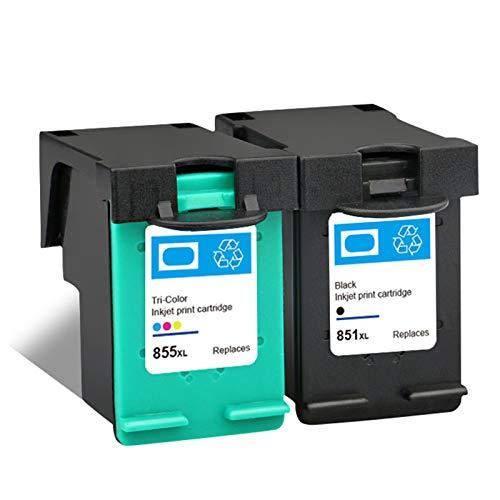 Cartucho de tinta 851 855, repuesto para impresora HP DeskJet 7108 4168 6318 D5168 Officejet 6208 6210 Photosmart 2575 negro y tricolor negro y color