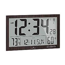 Marathon Slim Jumbo Auto-Set Atomic Digital Wall Clock with Temperature, Date, Humidity, 4 Time Zone, Auto DST, Self Setting, Self Adjusting, Batteries Included (Walnut Wood Tone)